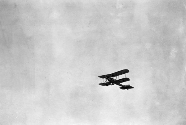 A British BE2C biplane in flight during the First World War. Date: 1914-1918