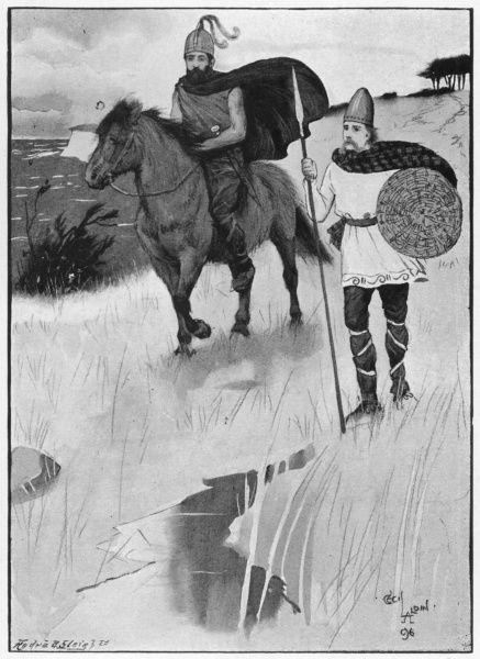 Two British warriors of the Bronze age, one on horseback, the other holding a spear and shield