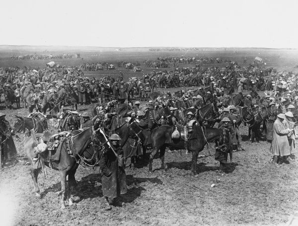 British cavalry awaiting orders to move forward during operations in the Arras region on the Western Front in France during World War I in May 1917