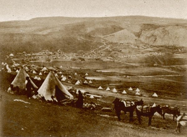 Photograph of the British army camp at Balaklava, under command of the Earl of Lucan, during the Crimean War, 1854