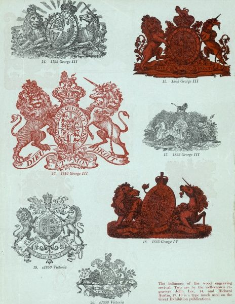 Royal coats of arms of Britain George III 1799, 1805, 1816, 1822 George IV 1825 Victoria c.1850