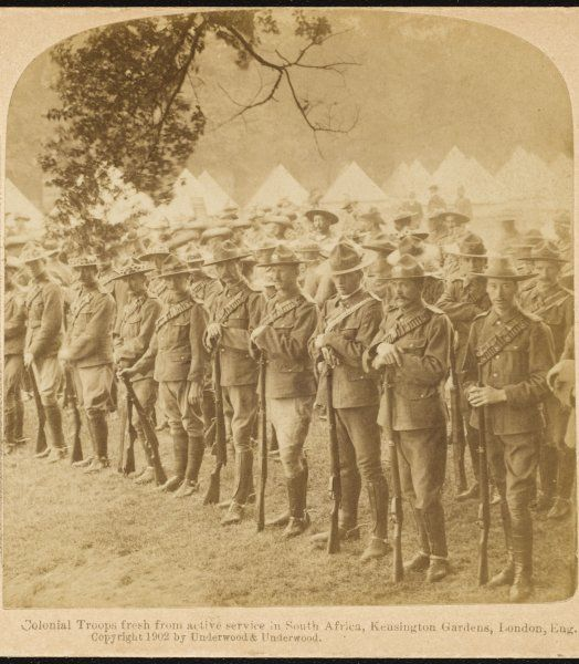 British colonial troops, fresh from active service in South Africa (presumably the Boer War) in Kensington Gardens, London