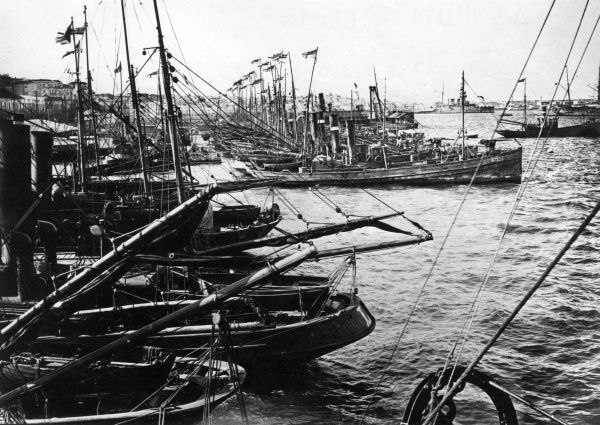 British drifters which took part in the Otranto Barrage, an allied naval blockade in the Adriatic during the First World War, seen here at anchor in the harbour at Taranto, Italy