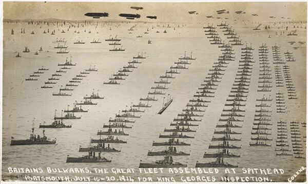 Britains Bulwarks. The great fleet assembled at Spithead, Portsmouth - July 16th - 20th 1914 for King George V's inspection, three weeks after the declaration of war against Germany