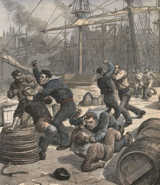 At Milwall Docks, London, a fight breaks out between English and German sailors - a foretaste of things to come! Date: 1892