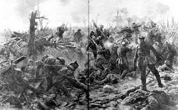 An illustration depicting fighting at close quarters between British and German soldiers armed with bayonets in Delville Wood, France