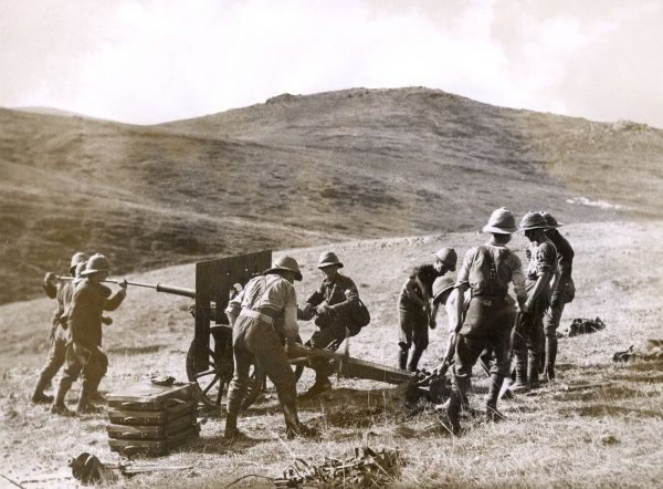 British gunners on the Balkan Front during the First World War, preparing a mountain gun for action. Date: 1914-1918