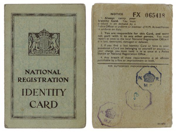 During World War Two, every British citizen must carry his or her identity card at all times. Otherwise you may be arrested as a spy or saboteur