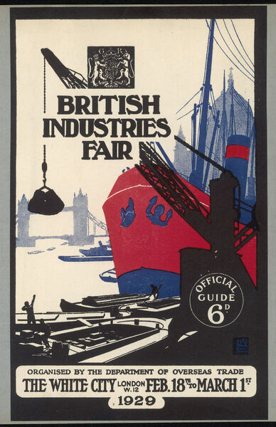 A striking red and black poster for the British Industries Fair which was held in the Empire Hall, Olympia, which was built for this event & opened in 1929