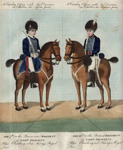 Two British Light Dragoons on horseback. On the left is an officer of the 7th or The Queen's Own Regiment of Light Dragoons; on the right is an officer of the 16th or The Queen's Regiment of Light Dragoons. Both are mounted and carrying swords