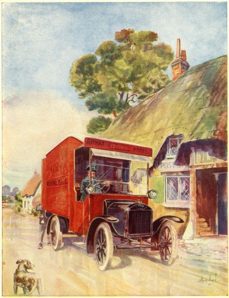 A van of the Royal Mail, delivering to a rural area