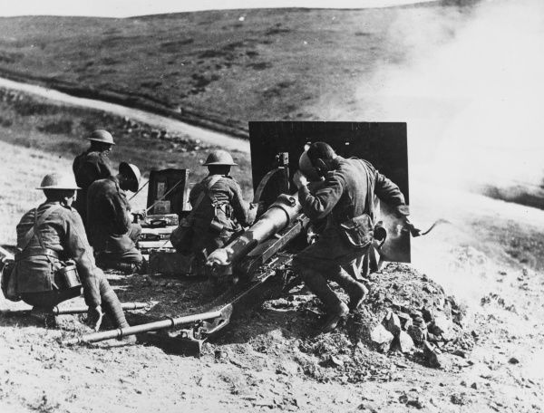 A British artillery unit fire a 2.75 inch mountain gun during the campaign in Bulgaria