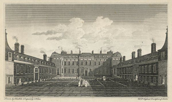 Exterior view of the courtyard of the British Museum while housed in Montagu House, which will be replaced by Smirke's buildings between 1823 and 1852