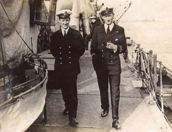 Two officers of the Royal Navy on the deck of a ship during the First World War. The man on the right is possibly Commodore (later Admiral of the Fleet) Sir Reginald Yorke Tyrwhitt (1870-1951). Date: 1914-1918