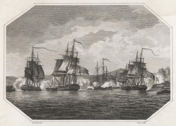 The British Navy taking the Caribbean island of Curacao during the Napoleonic Wars