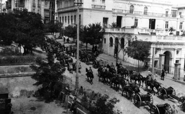 A procession of British soldiers and equipment through the streets of Baku, as a demonstration of force.  July 1919