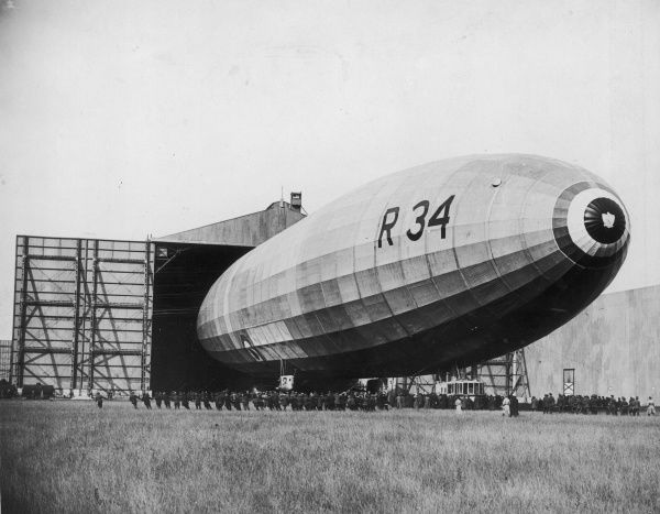 The British R34 (R33 class) airship emerging from her hangar