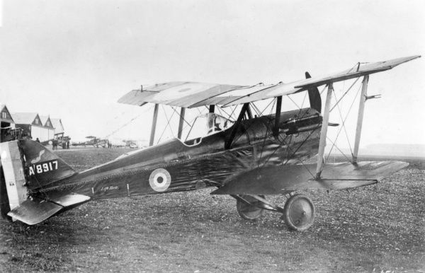 A British SE5 biplane, one of the main aeroplanes in use by the Royal Flying Corps during the First World War. Seen here on an airfield. Date: 1914-1918