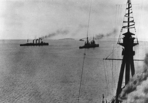 British ships under way at 9.45am from Port Stanley to take part in the Battle of the Falkland Islands during the First World War