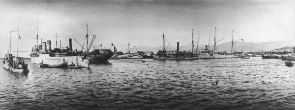 British ships at anchor in the Dardanelles during World War I Date: 1915