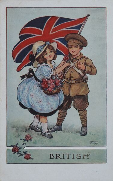 World War One postcard featuring children, a boy dressed in a British soldier's uniform holding the Union Jack flag aloft and being presented with a rose by a little girl who holds a basket of the national flower