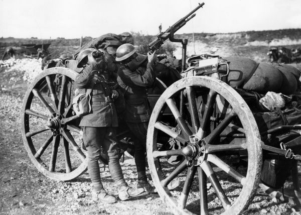 British soldiers of the Royal Horse Artillery attached to the 1st Cavalry Division firing at a German plane with an automatic rifle (a Hotchkiss Mark 1) fixed to a limber towards the end of the First World War. Date: 8 October 1918