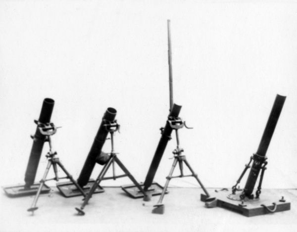 Four British Stokes Mortars, used during the First World War