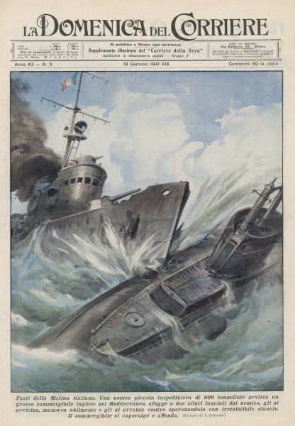 An Italian torpedo boat heroically rams and sinks a British submarine