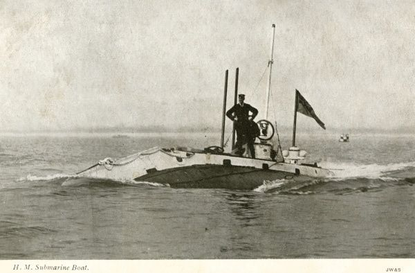 An early submarine of the Royal Navy. Date: 1903