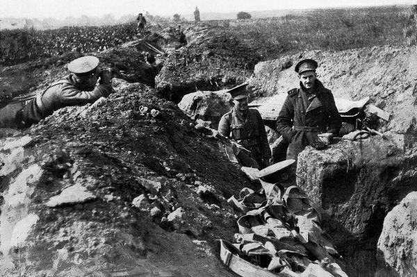 A quiet morning in the British trenches showing officers during a lull in firing. Trench warfare defined World War I