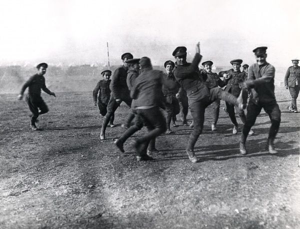 British army officers and men of the 26th Division Train playing football on Christmas Day at Salonika (Salonica, Thessaloniki, Greece) during the First World War. Date: 25 December 1915