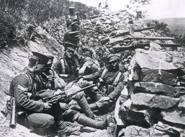 British troops in a trench in the hills on the Salonika Front during the First World War. Date: circa 1916-1917