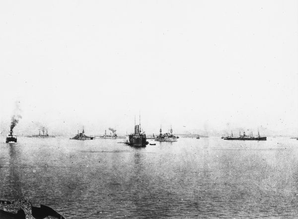 British warships and transports of Cape Helles during World War I in Gallipoli