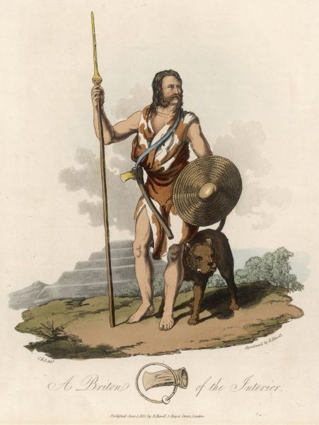 A Briton of the interior, with his dog : his garment is made from cow's hide. In the background is a mound fortress