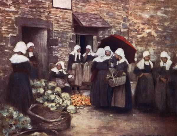 A Brittany vegetable market. The women gather in their traditional dress. Date: 1912