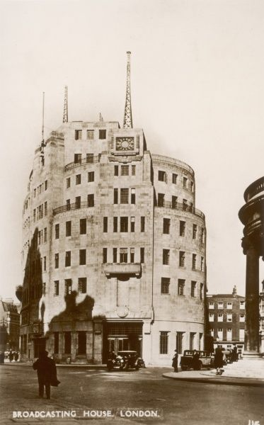 Broadcasting House in Langham Place, London, England, without the Eric Gill sculpture just after it was built