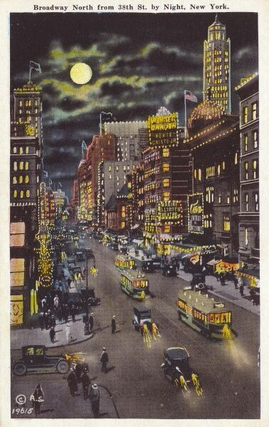 Broadway looking north from 38th Street by night, New York City, USA. Date: circa late 1920s