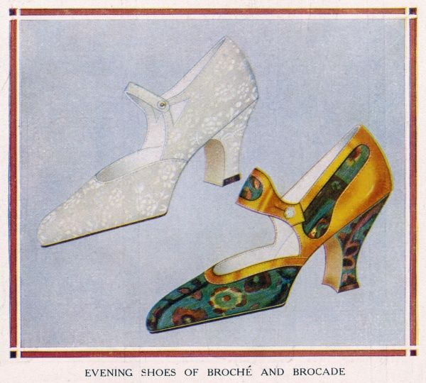 Broche and Brocade. Evening shoes made of brocade and broche