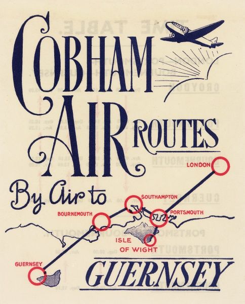 Brochure design, Cobham Air Routes, serving London, Southampton, Portsmouth, Bournemouth, the Isle of Wight, and Guernsey.  circa 1935