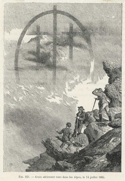 Brocken-type spectre in the form of a triple cross, observed by Whymper in the Alps