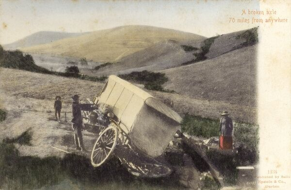 "A wagon with a broken axle - ""70 miles from anywhere"" ! - South Africa. How lucky a travelling photographer was on hand to assist....! Date: circa 1904"