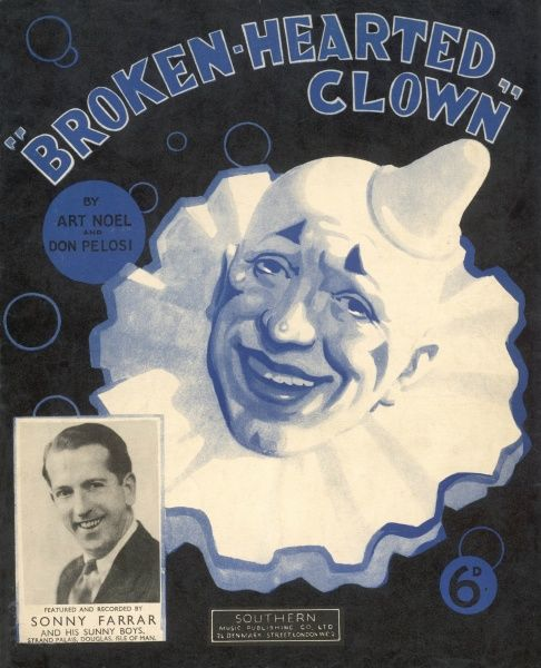 The head of a laughing clown illustrates the song, 'Broken- Hearted Clown&quot