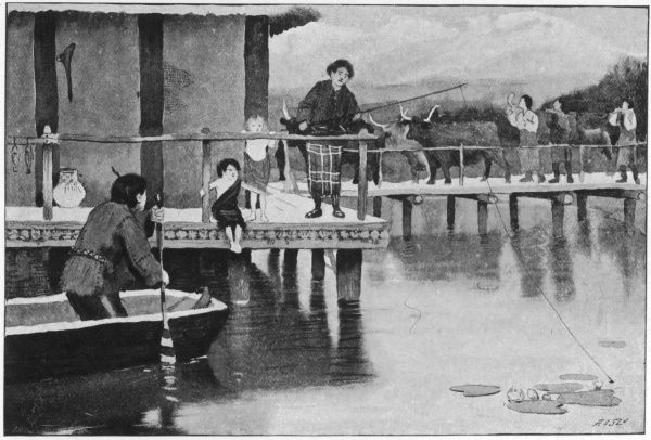 Swiss lake dwellers of the Bronze age go about their daily lives, living upon the shores of what is today Lake Zurich. Their houses are constructed over the water, upon wooden stakes driven deep into the river bed