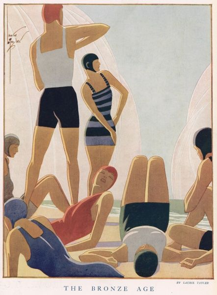 A stylish illustration of sunbathers relaxing on a beach