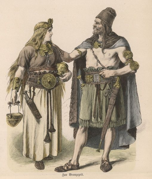 A German man and woman of the Bronze Age ; they wear shoes, and a lot of ornament : both are armed with daggers