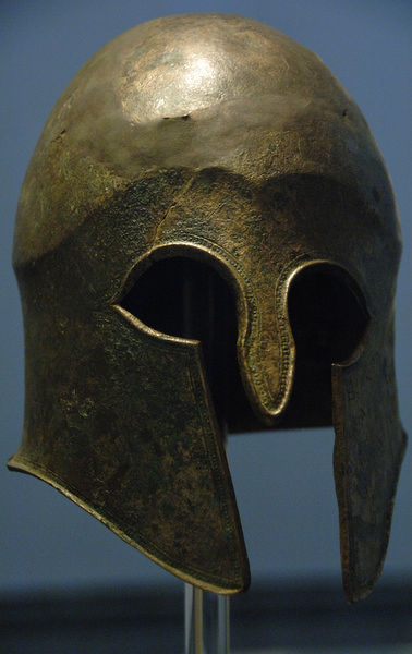 Bronze helmet of Corinthian type. 5th century b.C. Votive offering in the Sanctuary of Zeus by Hieron, tyrant of Syracuse, and his supporters after victory in Cyme (Italy) against the Etruscans in 474 BC Olympia Archaeological Museum