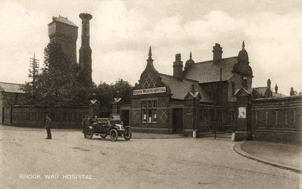 The main entrance of the Brook Hospital, Shooter's Hill, south east London, in its First World War guise as the Brook Military Hospital