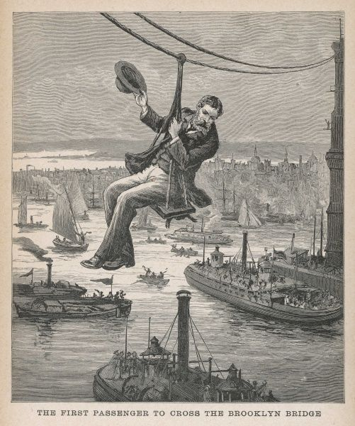 In a boatswain's chair, brave engineer Frank Farrington is the first person to cross the bridge. Suspended by a single cable, he raises his hat to the crowds 227 feet below