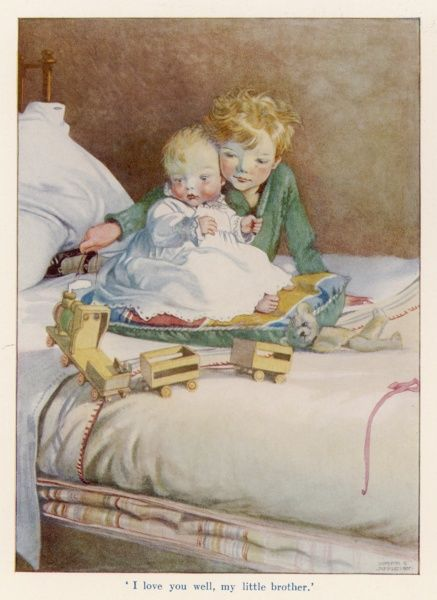 Two young brothers sit on a bed. The older pulls a wooden toy train to amuse his baby brother. 'I love you well, my little brother&#39