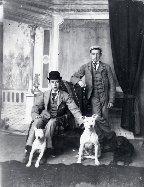 Two smartly dressed brothers with their three dogs posing against a painted backdrop in the photographer's studio in Haverfordwest, Pembrokeshire, Dyfed, South Wales